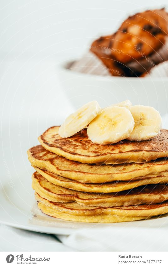 Banana And Coconut Pancakes Fresh Morning Stack Baked goods Cooking Pancake Rocks Tradition Close-up Baking Bakery gluten free Culinary Brunch Sauce Diet Crêpe