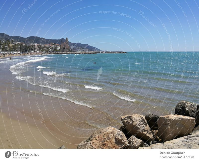 Beach and sea in Sitges Spain overlooking the church Vacation & Travel Tourism Trip Adventure Freedom Summer Environment Nature Landscape Water Climate Ocean