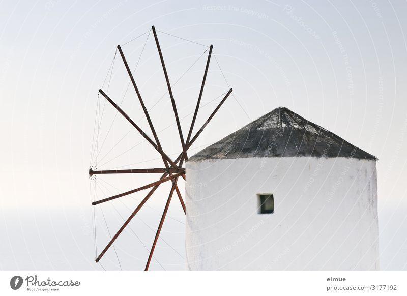 windmill Harmonious Trip Work of art Greece Santorini Village Tourist Attraction Landmark Monument Windmill Mill Fat Historic White Romance Longing Loneliness