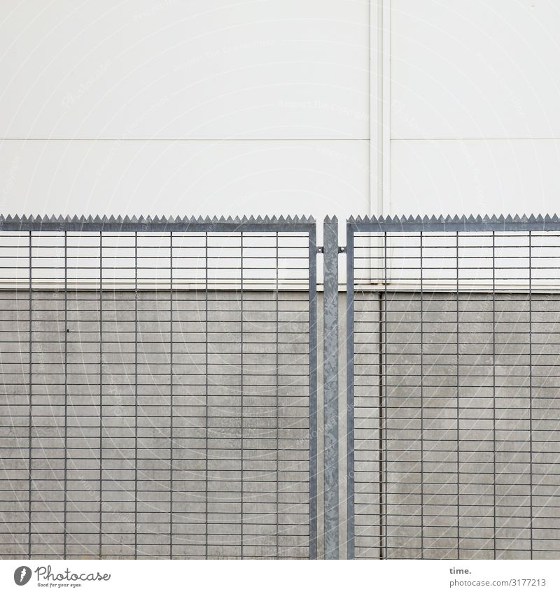 Stories of the fence (II) Exhibition hall Building Architecture Wall (barrier) Wall (building) Prongs Fence Grating Stone Concrete Metal Steel Line Gray Safety