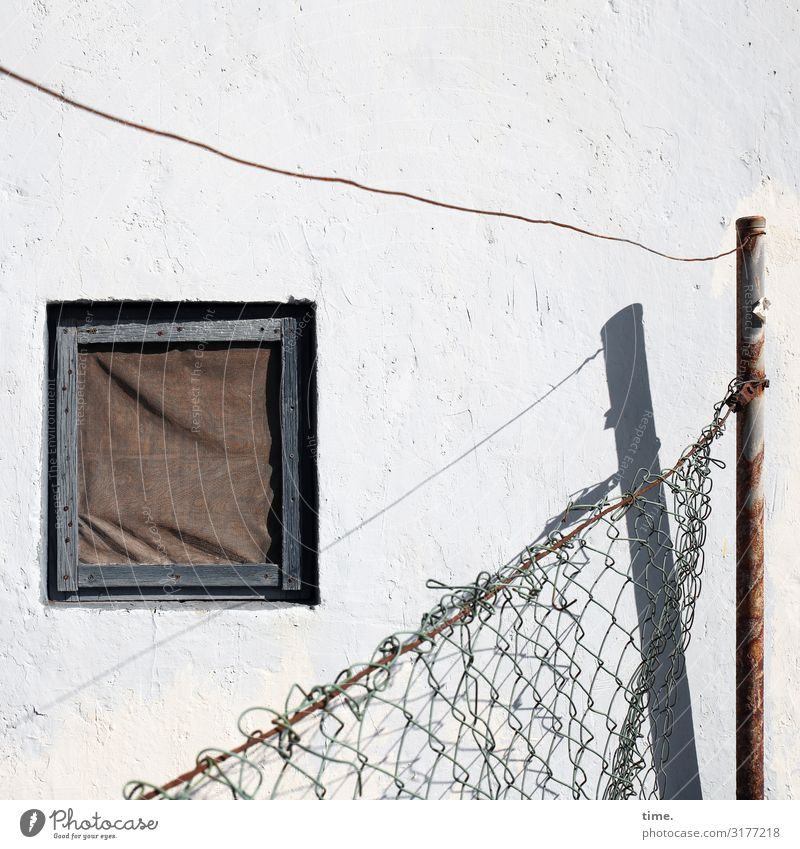 Stories of the fence (VIII) House (Residential Structure) Hut Manmade structures Building Wall (barrier) Wall (building) Window Fence Fence post Wire netting