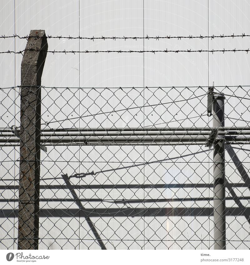 Stories of the fence (XII) Industrial plant Wall (barrier) Wall (building) Fence Fence post Wire netting Wire netting fence Barbed wire fence Concrete Metal