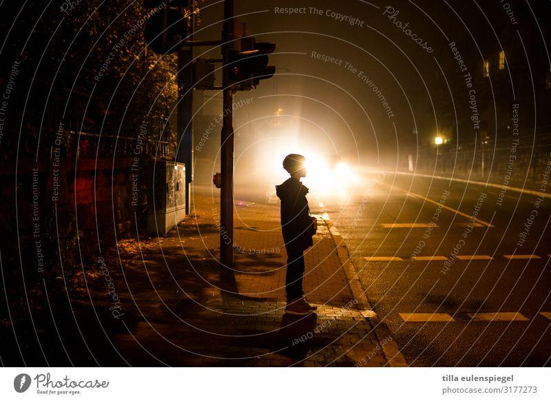 Child Human being Loneliness Dark Black Street Life Cold Boy (child) Orange Trip Transport Illuminate Infancy Stand Dangerous