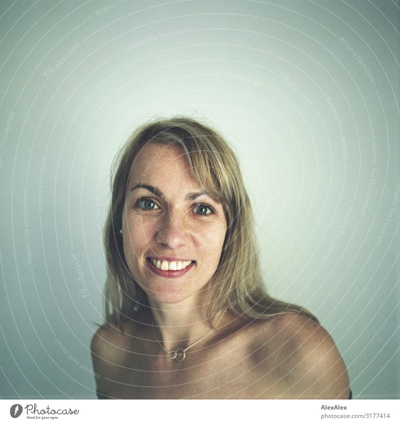 Rectangular analog portrait of a woman with freckles Style Joy pretty Life Harmonious Woman Adults Face Freckles 30 - 45 years Jewellery Blonde Long-haired