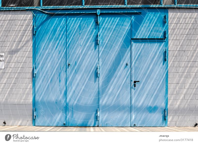 Blue Colour White Wall (building) Style Wall (barrier) Line Metal Door Entrance Industrial Brick wall