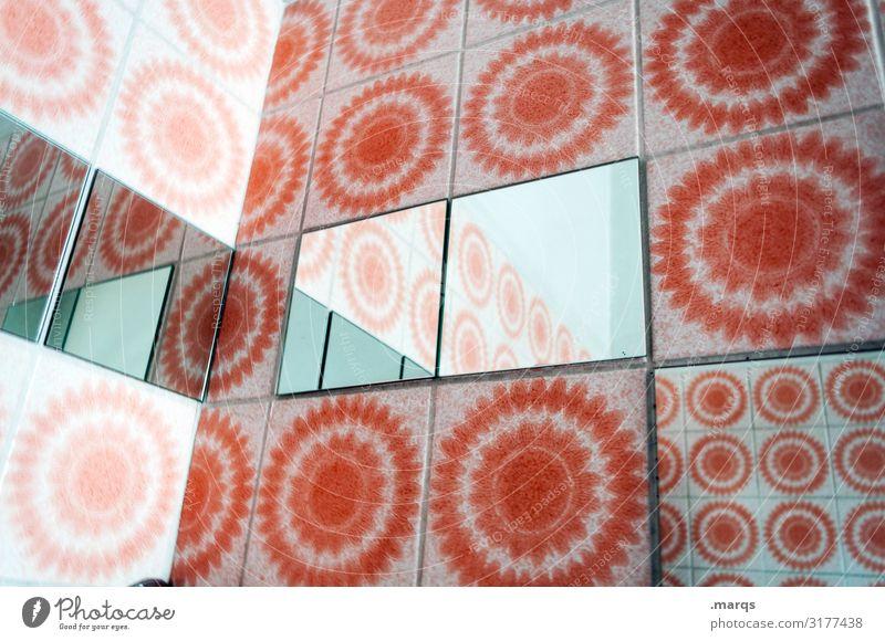retrospective Lifestyle Style Design Flat (apartment) Interior design Mirror Bathroom Tile Sharp-edged Retro Round Orange White Perspective Irritation