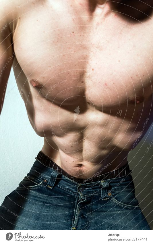 body check Healthy Fitness Sports Training Masculine Man Adults Upper body Waist 1 Human being Muscular Athletic Self-confident Power Jeans Naked Anatomy