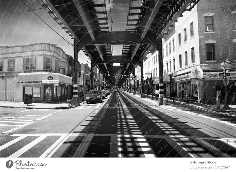Shadows of the Elevated, New York Technology New York City Brooklyn Town Downtown Pedestrian precinct House (Residential Structure) Bridge Manmade structures