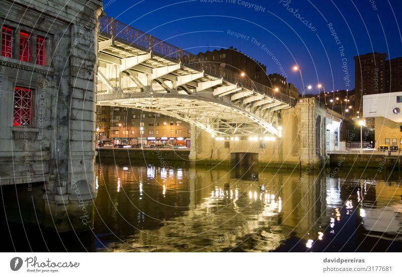 Deusto drawbridge over the Nervión river Sky Vacation & Travel Nature Town Landscape Red Tourism Vantage point Europe Bridge River Spain Under City Bilbao