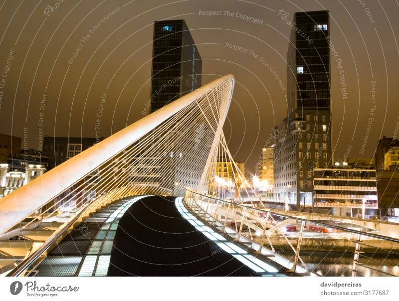 BILBAO, SPAIN - APRIL 02 Office Financial Industry Business Sky River Skyline High-rise Bridge Building Architecture Facade Street Tall Modern New White Arata