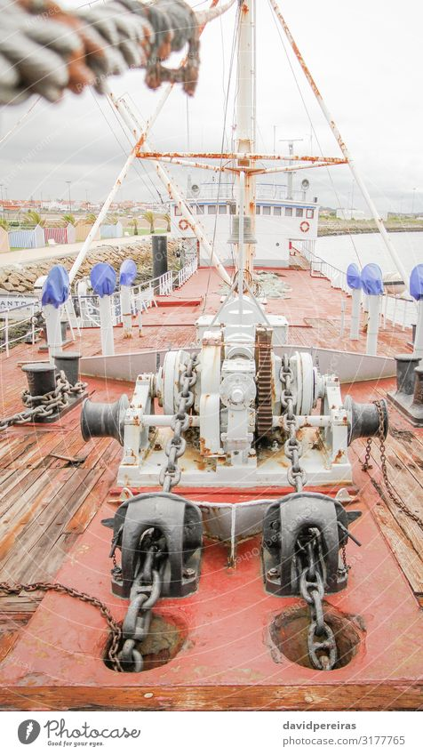 Ship deck with engine anchors Vacation & Travel Park Watercraft Steel Line Old Maritime Strong Energy chain Deck drilling equipment form forward iron marine