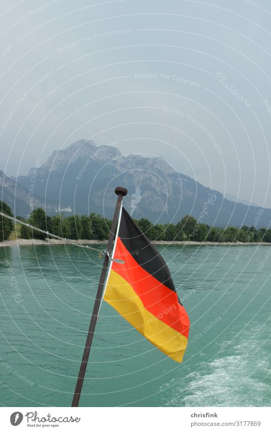 German flag on ship in front of Neuschwanstein Castle Leisure and hobbies Vacation & Travel Tourism Trip Nature Landscape Water Navigation Inland navigation