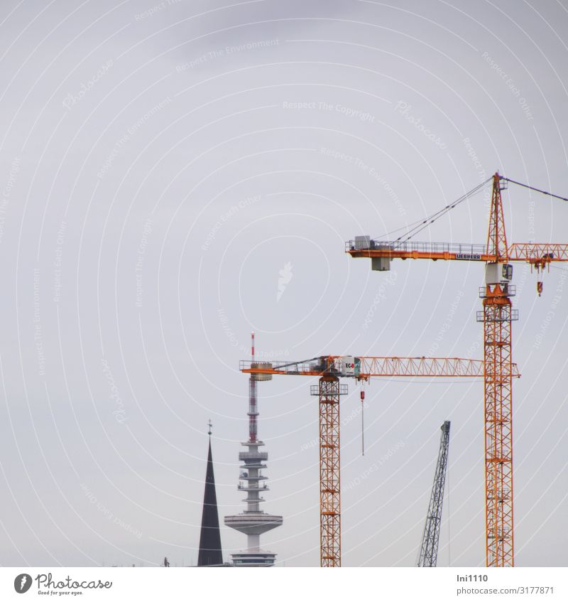 Black Background picture Architecture Yellow Gray Metal Church Air Technology Large Industry Hamburg Tower Construction site Tourist Attraction Economy