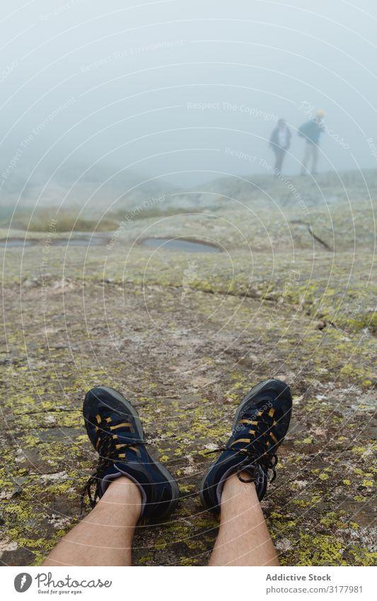 Crop legs on stony ground on misty day Legs Fog Ground Stone Landscape Nature Trip