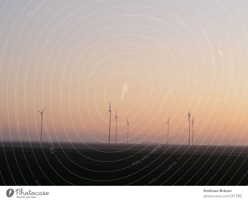 Wind farm in the evening light Sunset Twilight Electricity Alternative Renewable Ecological Subsidy Expenditure Environment Back-light Electrical equipment