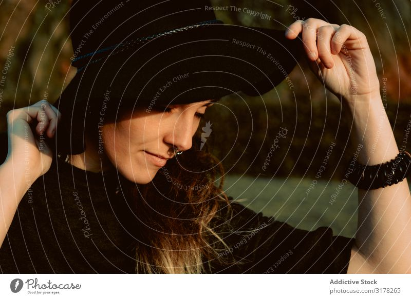 Stylish young woman in black hat outdoors Woman Hat To enjoy Style Accessory Youth (Young adults) Beautiful Portrait photograph Summer Fashion Attractive