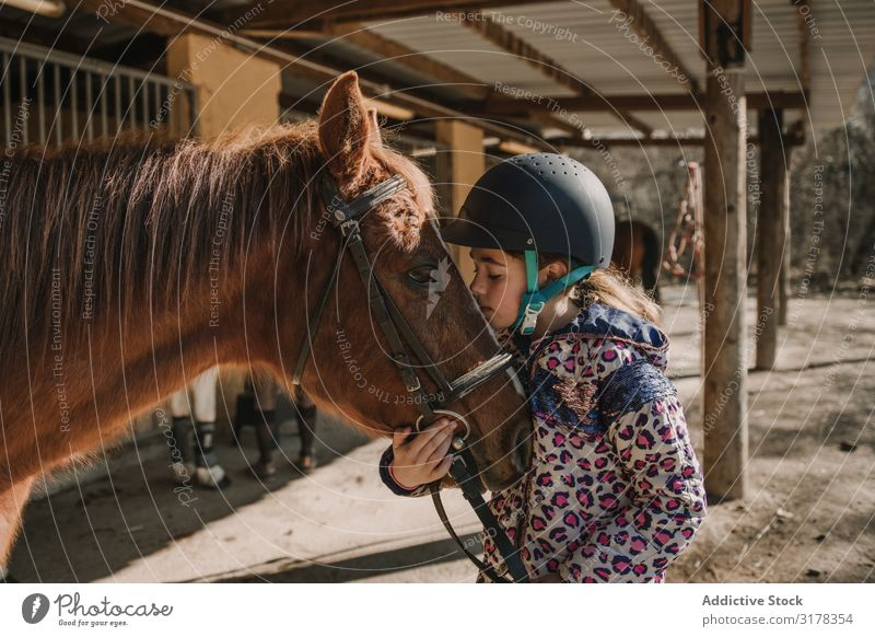 Girl kissing a horse Kissing Horse Bridle Stable Stall Lessons Horseback riding Ranch Woman Animal Youth (Young adults) Child Considerate Equipment