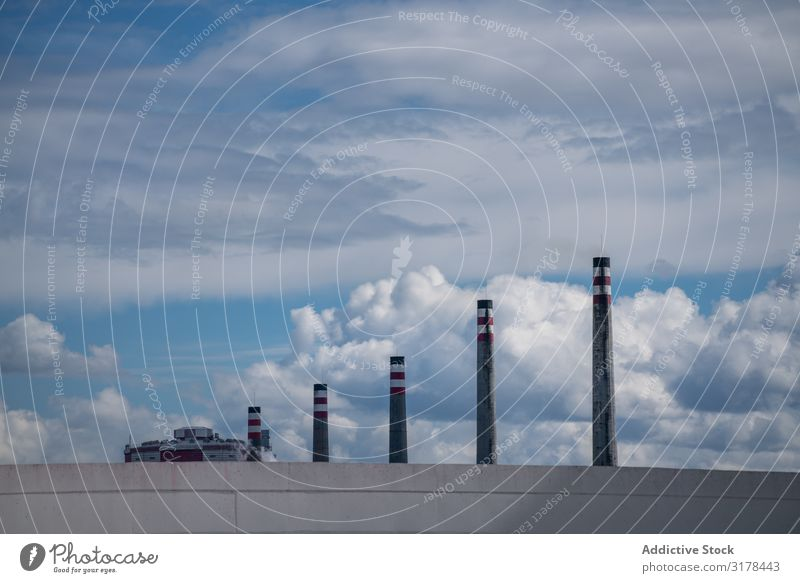 Industrial smoke stacks and beautiful cloudy sky Stack Sky Smoke Clouds Exhaust Beautiful Picturesque Spain asturias Factory Perspective Ecological Environment