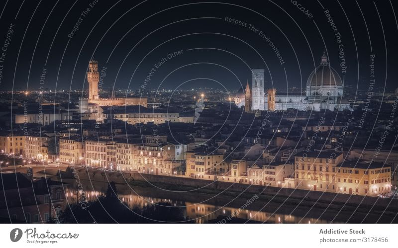 Glowing ancient city in night time Skyline Light Florence Night Illumination Panorama (Format) Italy Architecture Vacation & Travel Town medieval Tourism Old