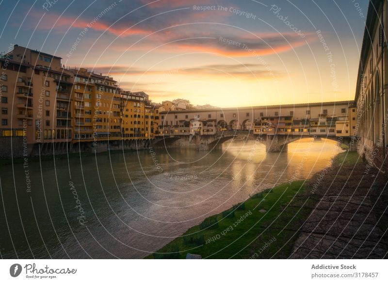 Old bridge across channel in sunset Bridge Sunset Channel Florence Italy Building Vacation & Travel Water Architecture City Tourism Landscape canal Attraction