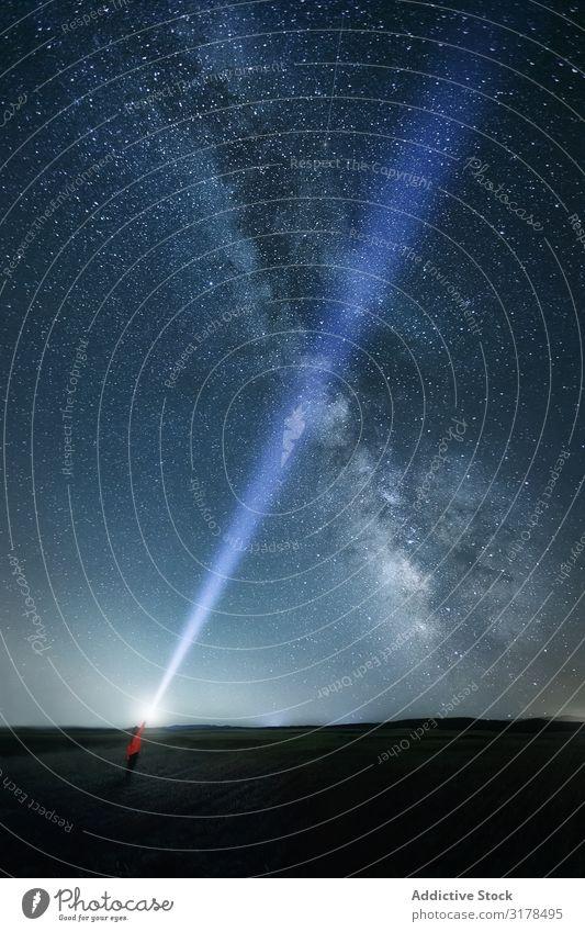 Starry sky and person with ray of light Sky traveler Ray Light starry Night Majestic Bright Milky way Upward Mystery Galaxy Spiritual explore Fantasy Glow