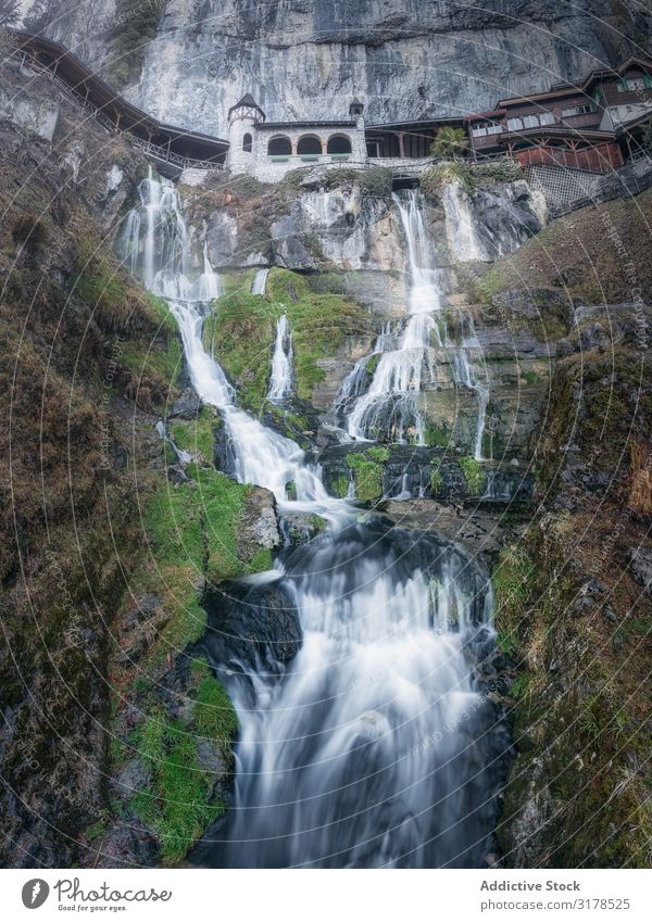 Picturesque waterfall on high cliff Cliff Waterfall Height Nature Terrace Long exposure Majestic Stream Tourism Fresh Pure Harmonious Valley Ecological