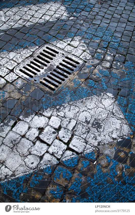 street art Deserted Transport Traffic infrastructure Street Lanes & trails Going Retro Trashy Town Blue Gray Movement Risk Zebra crossing Gully Paving stone