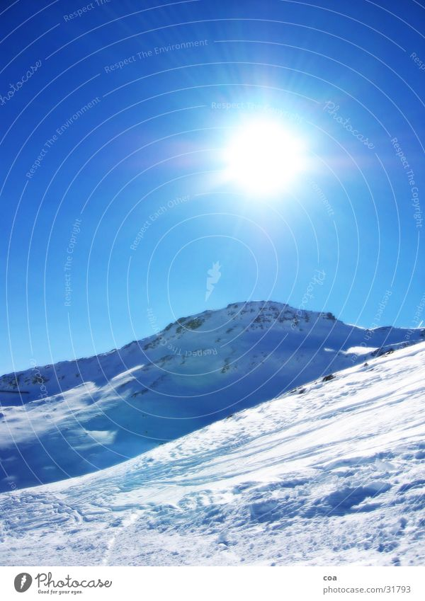 winter Flims Switzerland Mountain in advance Laax alpine arena Snow Sun Ski run Stone Blue Lighting