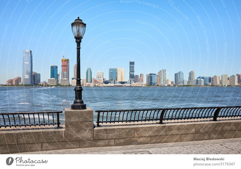 Jersey City skyline seen from downtown New York. Vacation & Travel Tourism Sightseeing City trip Summer Sky River bank Downtown Skyline High-rise Building