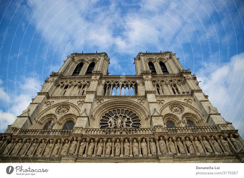 Notre Dame de Paris Cathedral Sky Church Dome Building Architecture Historic Beautiful Uniqueness Perspective Vacation & Travel Religion and faith Symmetry