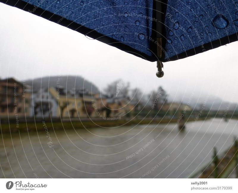 November weather... Autumn Bad weather Fog Rain River bank Traun Bad Ischl Village Small Town Downtown House (Residential Structure) Dark Cold Loneliness Calm
