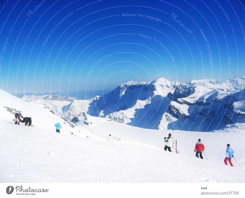 Winter Snow Mountain Skiing Switzerland Glacier Flims