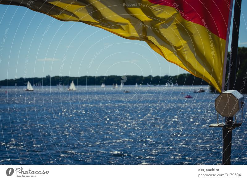 A day at the lake Joy Relaxation Sailing Trip Summer Aquatics Boating trip Environment Water Beautiful weather Lakeside Berlin Germany Outskirts Flag Observe