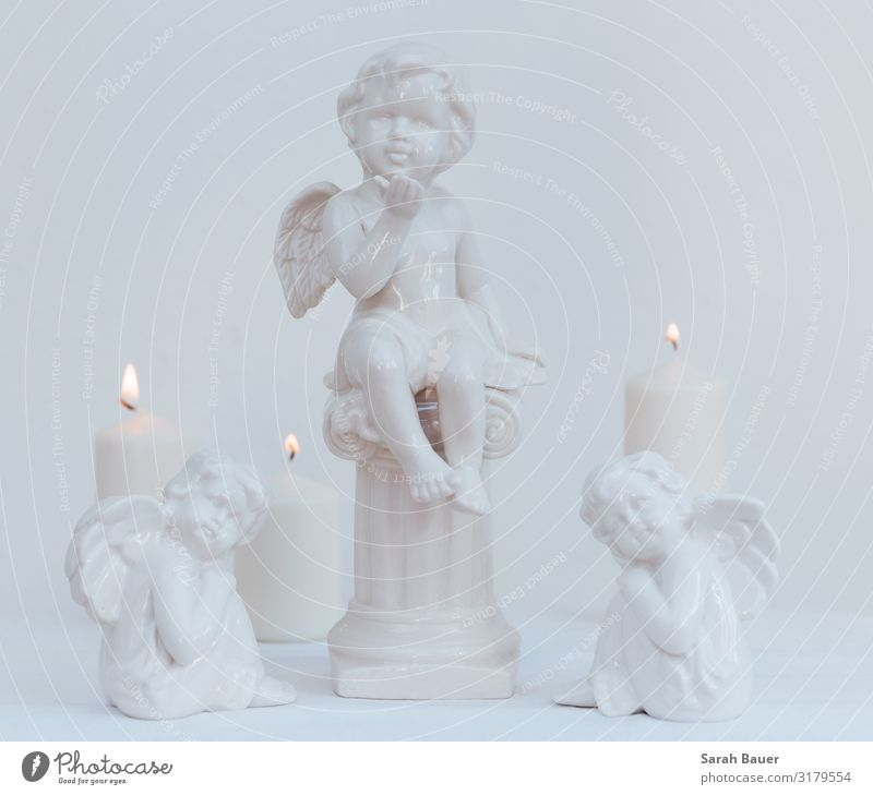 Three white angels Design Calm Decoration Feasts & Celebrations Christmas & Advent Funeral service Art Sculpture Candle Collection Angel Observe Think Kissing