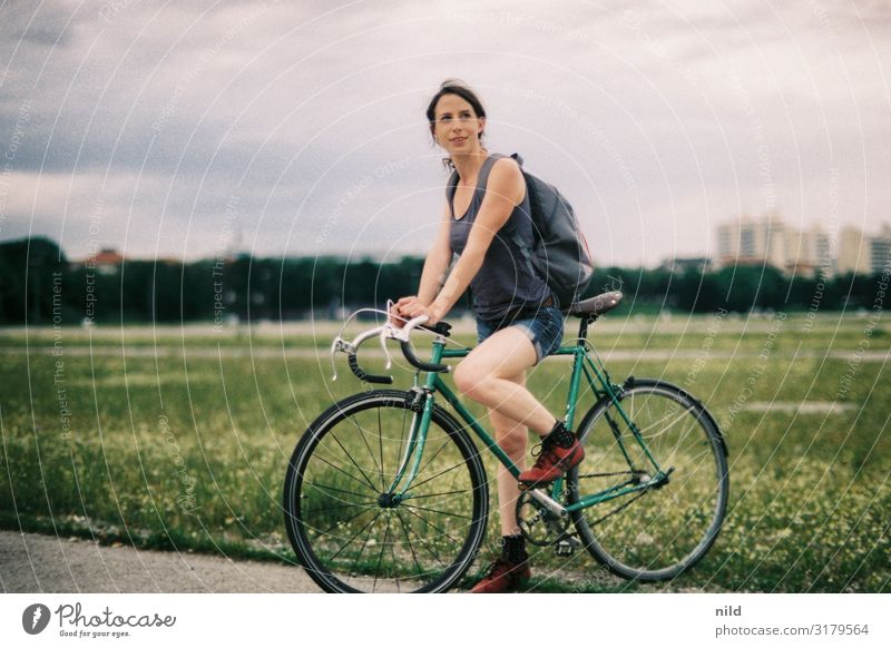 Human being Youth (Young adults) Young woman Summer Town Beautiful 18 - 30 years Lifestyle Adults Feminine Sports Style Trip Leisure and hobbies Elegant Cycling