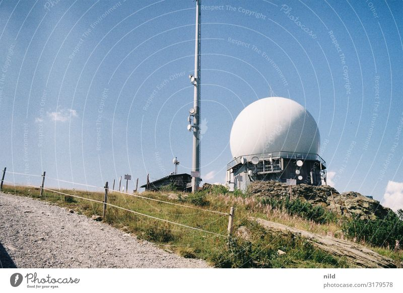 Great Arber Technology Radar station Antenna Nature Landscape Summer Beautiful weather Mountain Bavarian Forest Peak Observatory Manmade structures Architecture