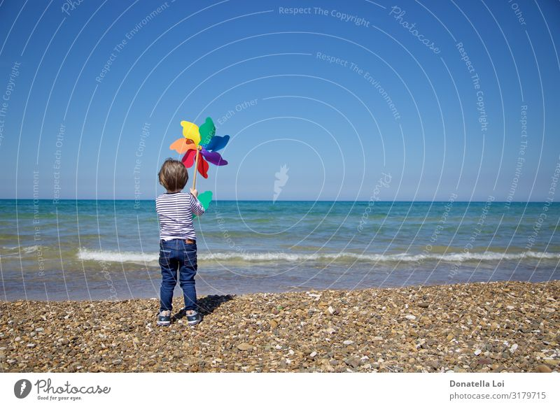 Child from behind holds a colorful pinwheel in front of the sea Joy Summer Beach Ocean Human being Masculine Boy (child) Infancy Body 1 3 - 8 years Environment