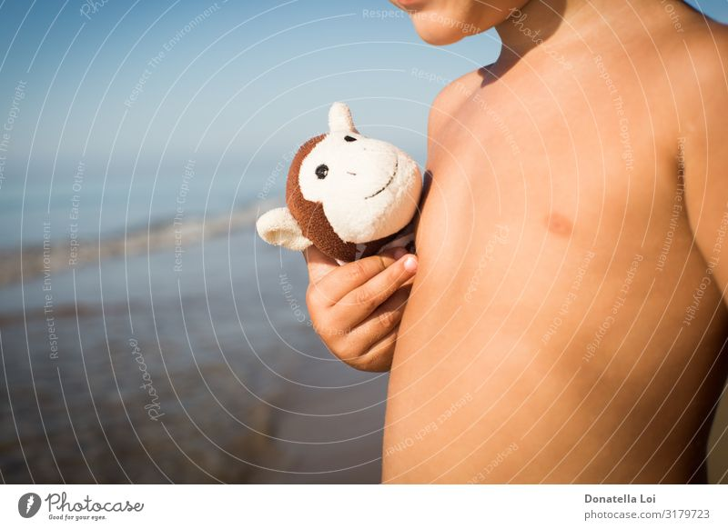 Little boy with monkey toy Child Nature Naked Summer Hand Ocean Joy Beach Lifestyle Copy Space Playing Friendship Leisure and hobbies Waves Infancy Protection