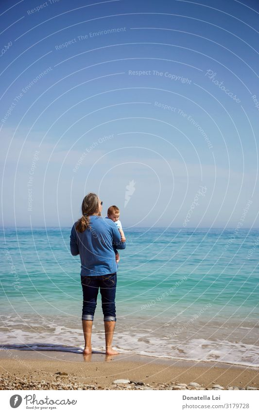 Father and son at the beach Lifestyle Calm Leisure and hobbies Summer Beach Ocean Parenting Child Human being Masculine Baby Toddler Man Adults Infancy 2