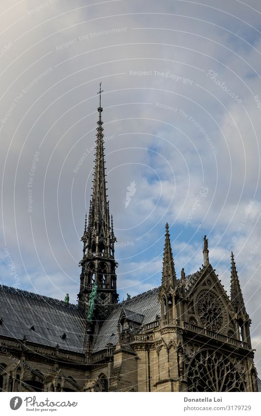 Notre Dame details Sky Church Dome Monument Old Religion and faith Other Keywords Paris Cathedral Copy Space famous France gothic Statue Vertical Colour photo