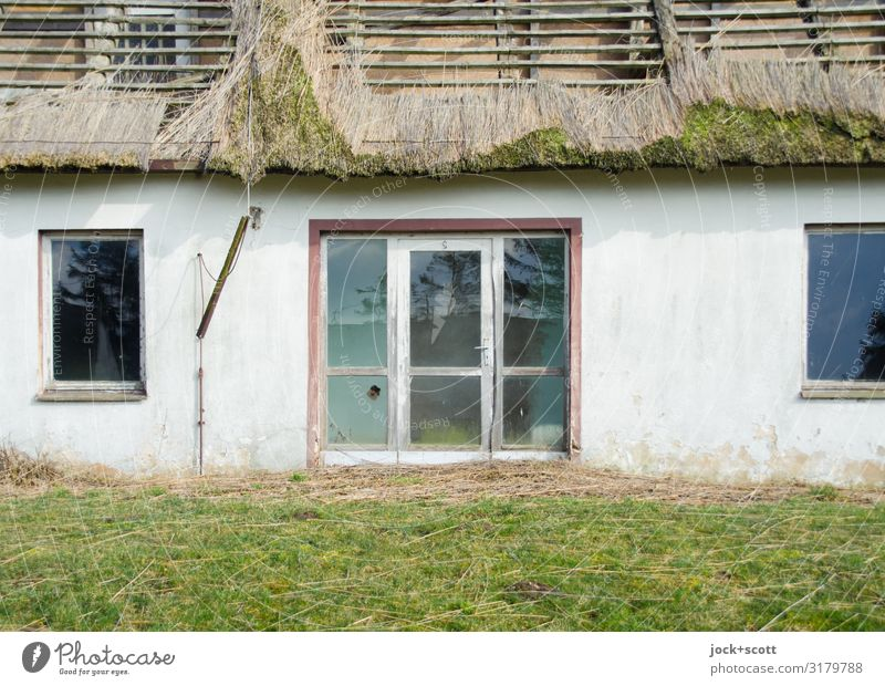 Lost Vacation & Travel Calm Winter Window Meadow Moody Retro Authentic Beautiful weather Broken Hotel End Entrance GDR Reet roof lost places