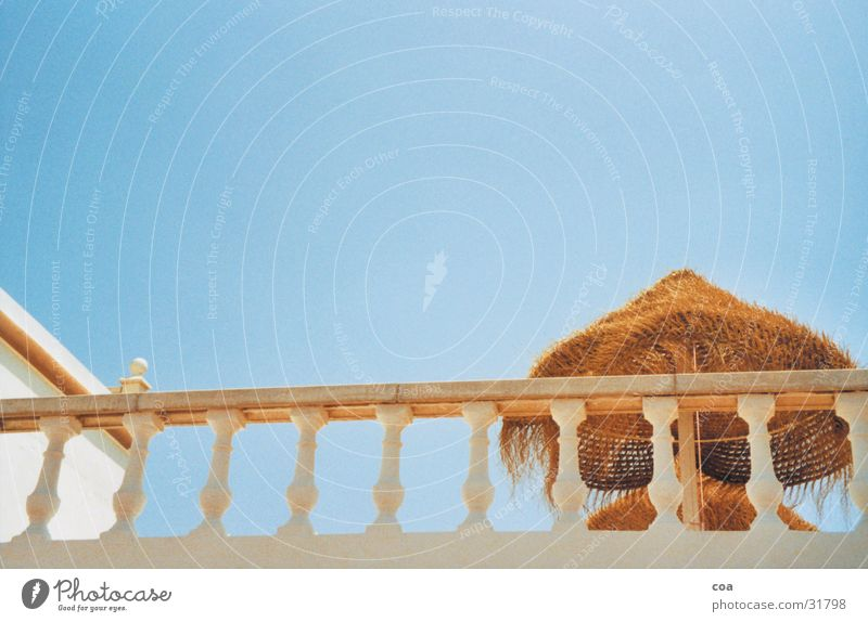 Sky Sun Blue Summer Warmth Architecture Physics Balcony Sunshade Handrail Straw Ibiza Sun roof