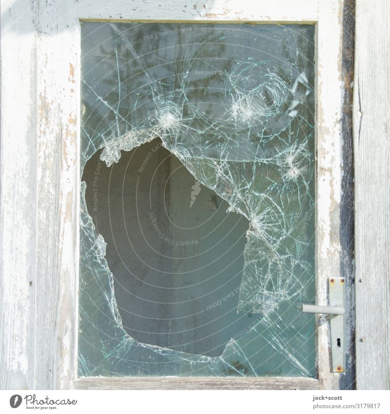 glass monster Pane Crack & Rip & Tear Frame Hollow Authentic Broken Retro White Aggression Apocalyptic sentiment Decline Transience Vandalism Ravages of time