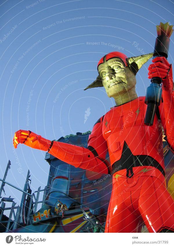 spooky Freak Robot Red Twilight Suit Future Worm's-eye view Obscure Exhibition ghost train Torch Orange Blue Ear Fairs & Carnivals Sky