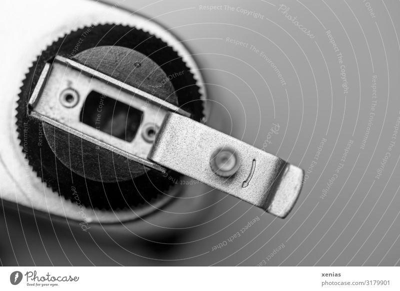 at that time we were cranking Camera Arrow Old Retro Round Black Silver Memory Mechanics Analog Former Crank Black & white photo Studio shot Close-up Detail