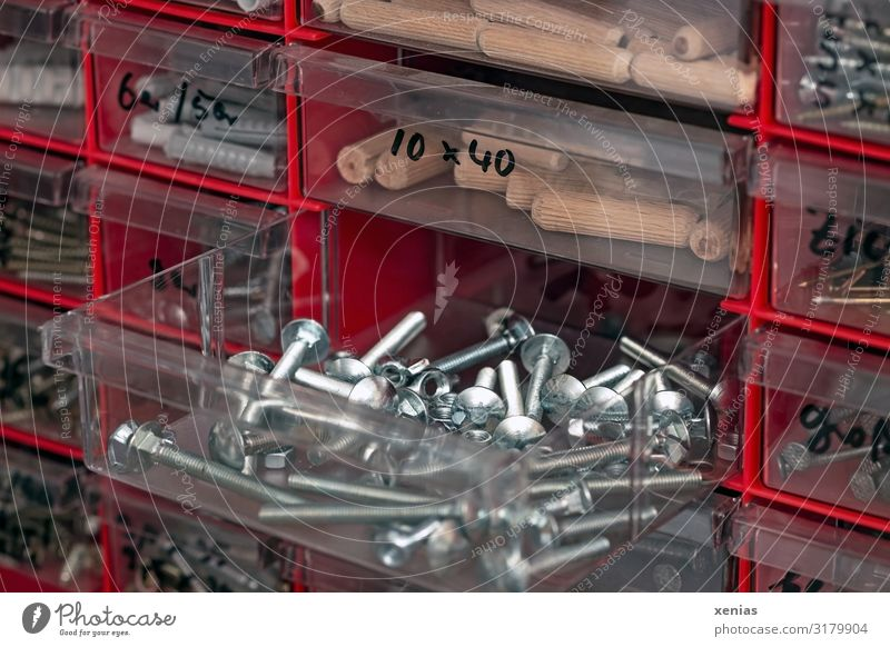 order must be..in the drawers with the screws Screw Drawer wooden dowels Rawplug Collection Metal Plastic Red Silver Arrange Arrangement Plastic box Lettering