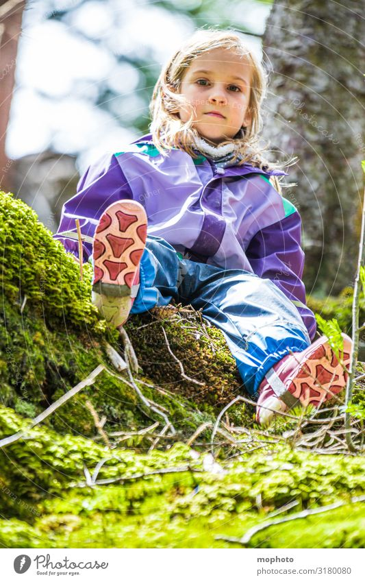 Adventure in the forest Happy Contentment Playing Vacation & Travel Trip Mountain Child Girl Infancy 1 Human being 3 - 8 years Nature Moss Forest Rubber boots