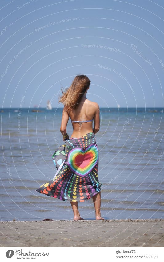 Hau(p)tsache | love Feminine Young woman Youth (Young adults) Life 1 Human being 13 - 18 years Cloudless sky Summer Beautiful weather Beach Ocean Long-haired