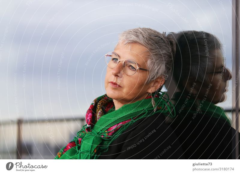 Woman Human being Beautiful Loneliness Calm Adults Life Senior citizen Think Horizon Elegant 45 - 60 years 60 years and older Authentic Future Eyeglasses