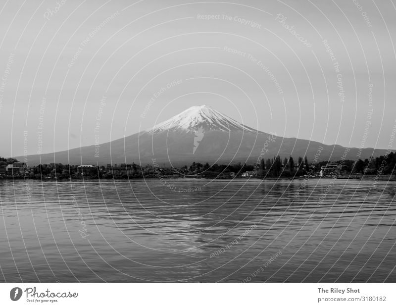 Mount Fuji in Black and White Environment Nature Landscape Spring Climate Weather Beautiful weather Mountain Fujiyama Volcano Japan mount fuji Tokyo Old Breathe